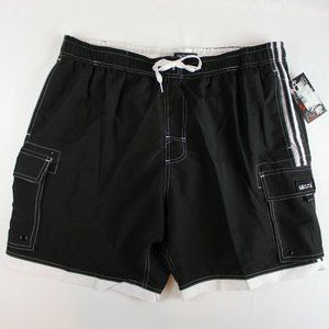 5/$25 Uzzi Surf Swim Trunks Black White 3XL 4XL
